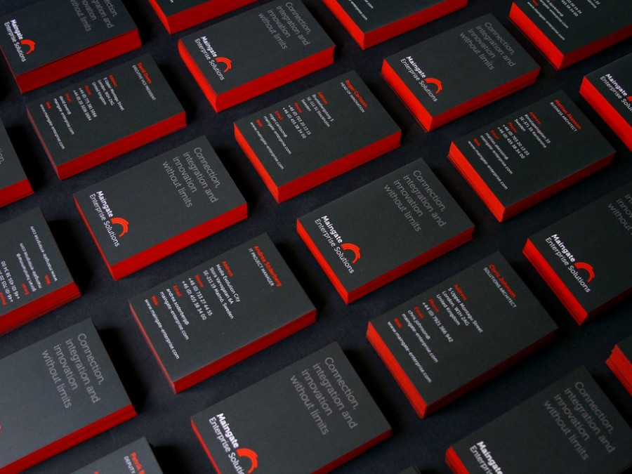 Coloured-edge business cards for Maingate Enterprise Solutions