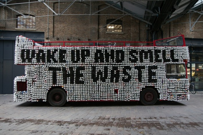 Hughs War on Waste coffee cup waste London Bus Biome Bioplastics Paul Mines Life SIze Media