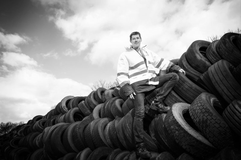 CEO Martijn Lopes Cardozo with some of the raw tyres to be recycled