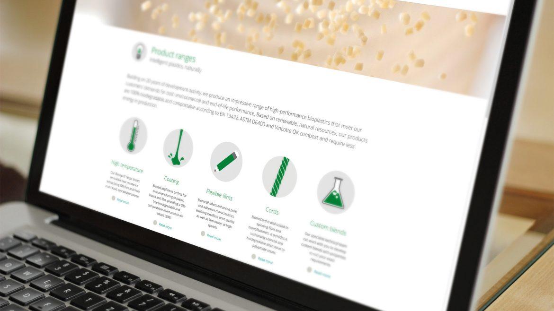 Website design for Intelligent Bioplastics & Industry Biotechnology in Cleantech