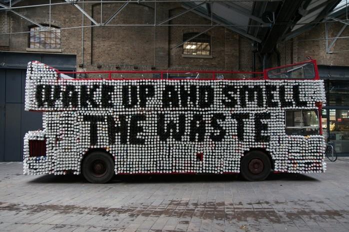 Hughs War on Waste coffee cup waste London Bus Biome Bioplastics Paul Mines Life SIze Media