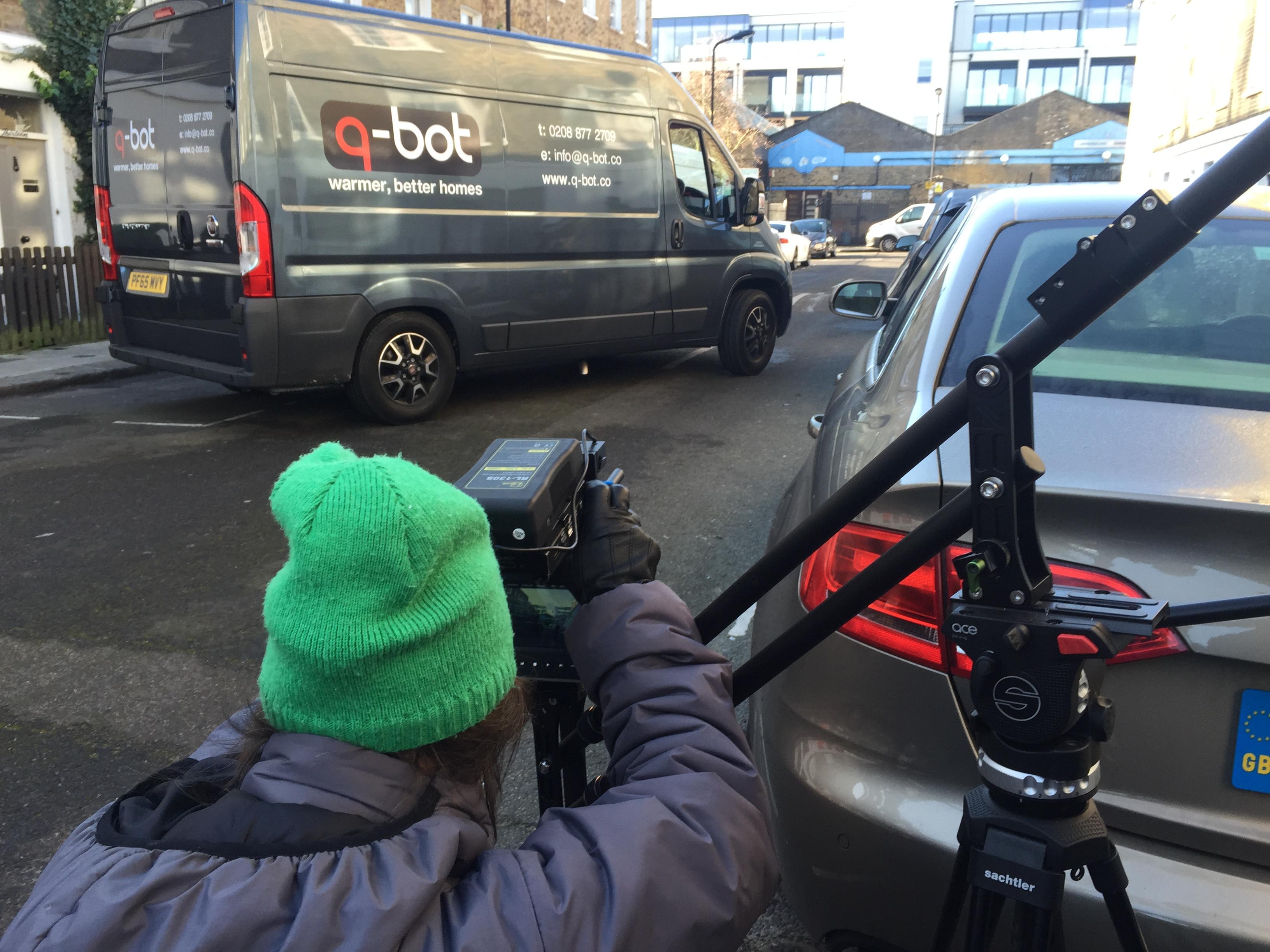 DoP tania is filming Q-bot for DECC film series